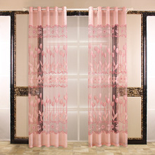 1PC European Peony Pattern Voile Curtains Tulle Sheer Valances Home Decor Curtains For Living Room Window Curtains For Bedroom