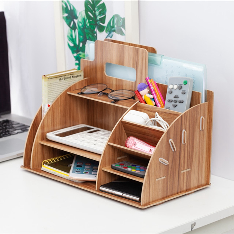 Image 2 - Wood Desk Organizer Office Bureau Pen Holder Wooden Sorter with Drawer Organizer Pen Pencil OrganizerDesk Set   -