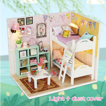 Toys Dollhouse Furniture Wooden Miniaturas for Girls DIY Pink with Birthday-Gifts M013/m026