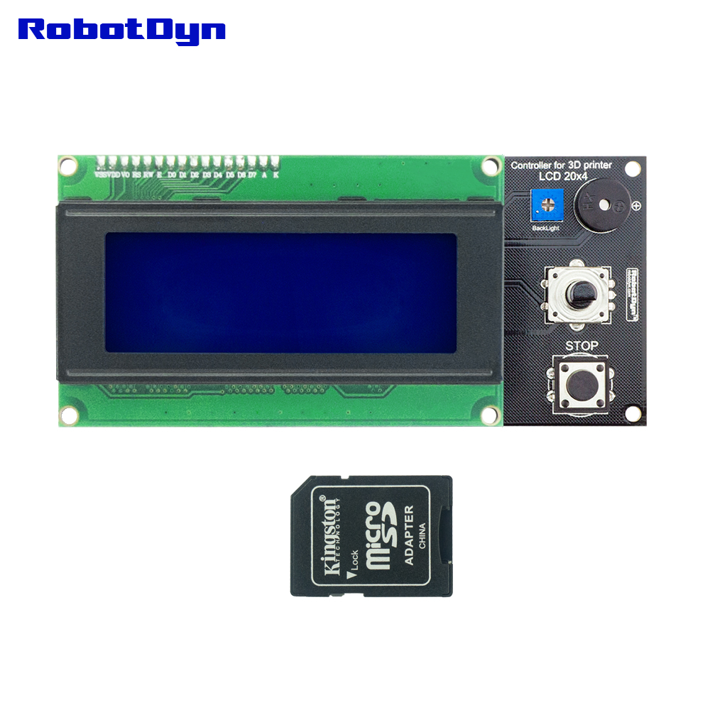 3D printer display Smart Controller for RAMPS 1.4, Text LCD 20x4 (2004), SD and MicroSD-card reader compatible with Arduino DIY