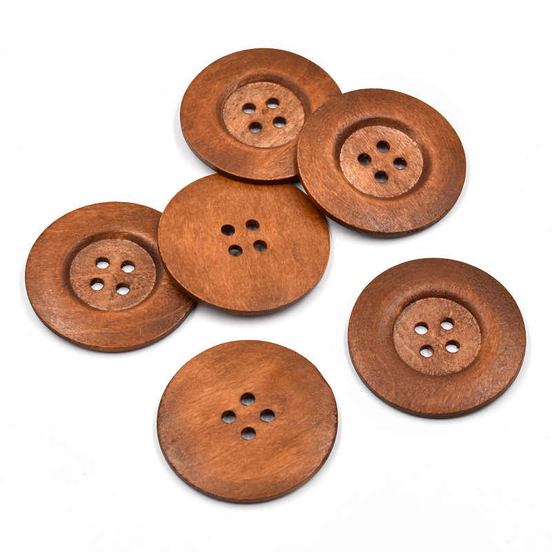 50mm 2 inch 4 hole Wood 10 Extra Large Dark Brown Coffee Wooden Button