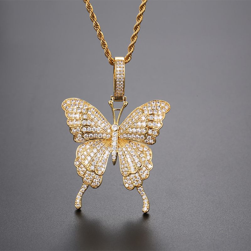 Gold Plated Cubic Zircon Butterfly Necklace Men\'s Women Hip hop Pedant Rock Jewelry Bling Neklace Gifts
