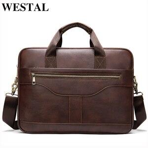Image 1 - WESTAL Bolsa de mensajero de cuero genuino para hombre, bolso de oficina para ordenador portátil, de diseño de negocios, de cuero