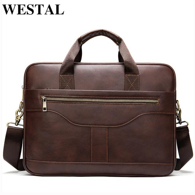 WESTAL Bolsa de mensajero de cuero genuino para hombre, bolso de oficina para ordenador portátil, de diseño de negocios, de cuero
