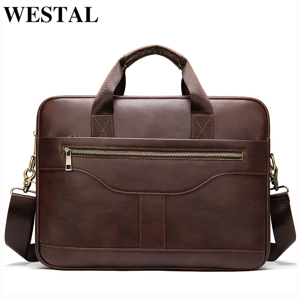 WESTAL Messenger Bag Men Briefcase/men's Genuine Leather Laptop Bags Office Bags For Men Bussiness Design Bag Men Leather Tote