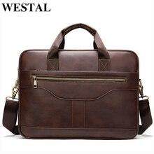 WESTAL messenger bag men briefcase/mens genuine leather laptop bags office bags for men bussiness design bag men leather tote