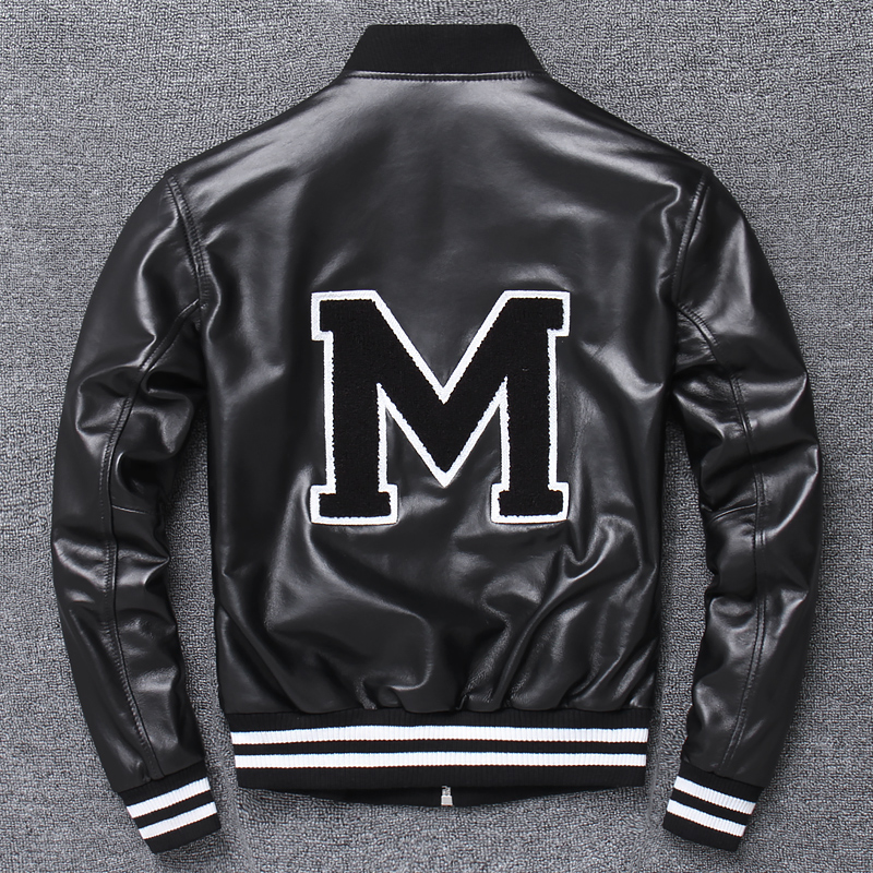 Spring Autumn genuine leather Baseball Coat Sport Motorcycle Suit Man Women With sign M on back lovers Coat Sheepskin Jackets