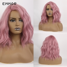 EMMOR short Pastel Curly Wave Wig With Side Bangs Women's Short Bob Pink wig ynthetic