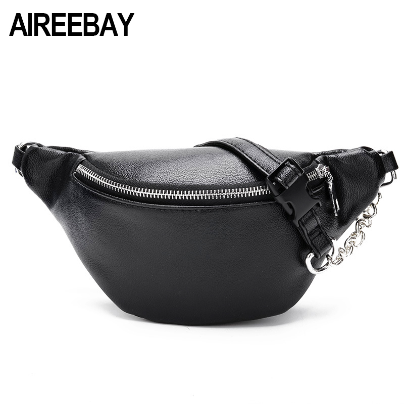 AIREEBAY Women Chest Bags Fashion Chain Leather Messenger Bag Shoulder Bag Female Large Capacity Zipper Phone Money Waist Packs