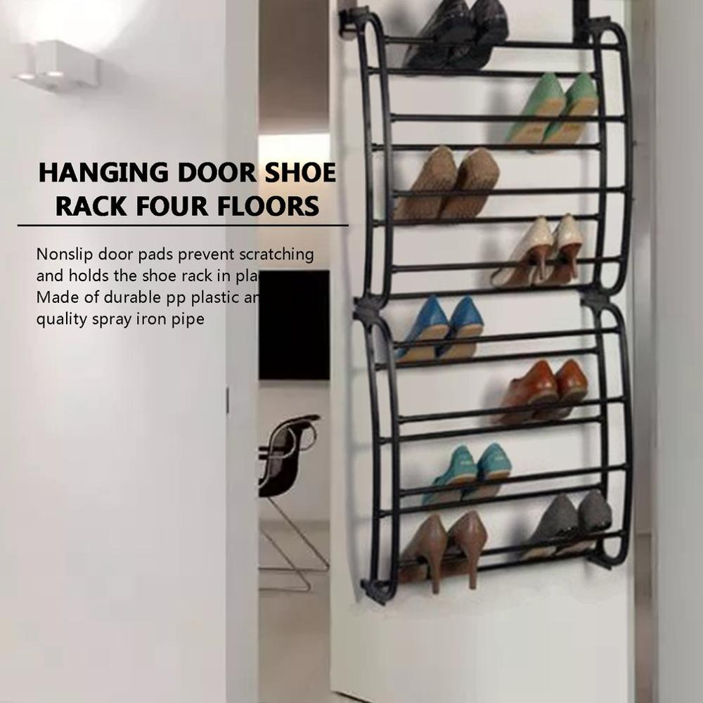 4 Layers Hanging Shoe Rack for 12 Pairs of Shoe Rack with Non Slip Door Pads to Prevent Scratching 1