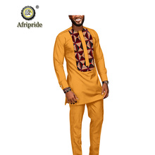 2019 African men suits dashiki clothing print shirts tops+pants with pockets 2 piece set ankara outfit blouse AFRIPRIDE S1916005