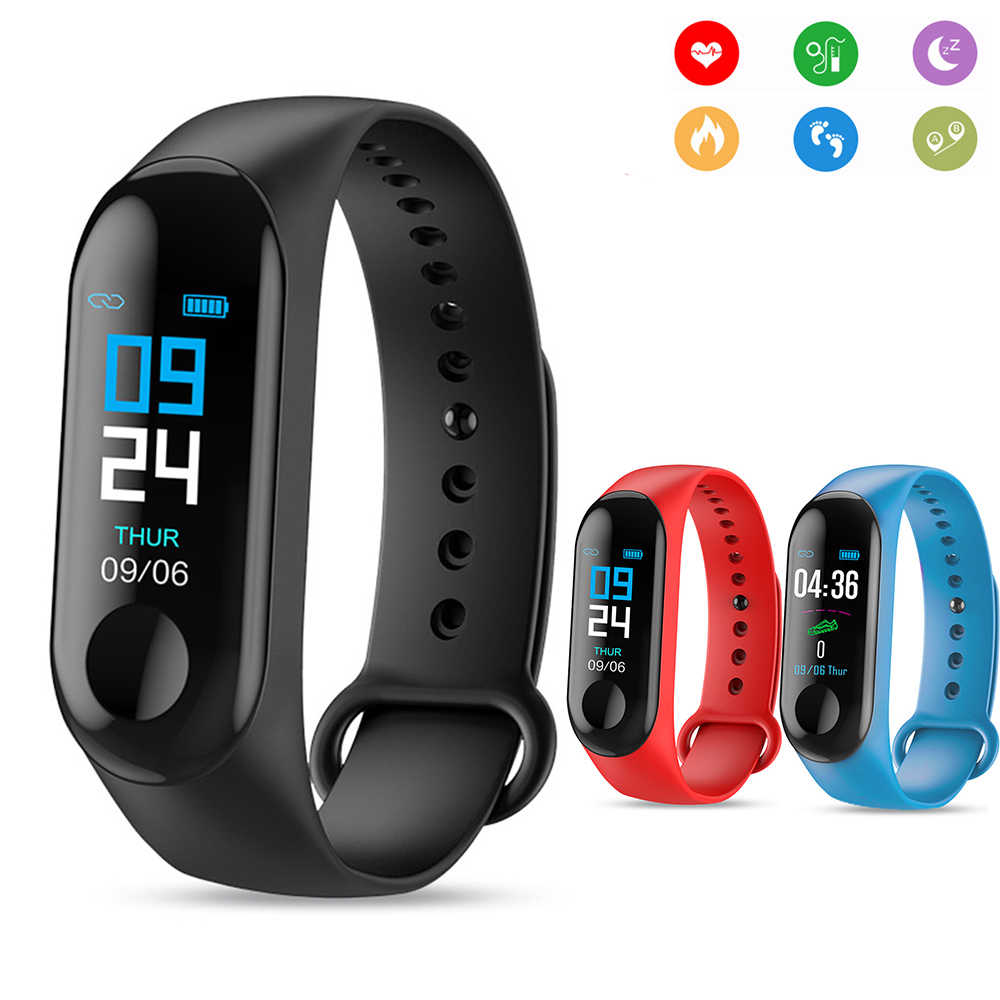 M3 Smart Watch Health Fitness tracker Bracelet Color Screen Heart rate blood pressure Life waterproof smartband pk mi band 2 3
