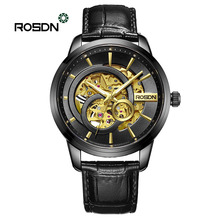 ROSDN Watches men #8217 s automatic mechanical watches men #8217 s watches fashion personality mechanical men #8217 s leather watches waterproof cheap BINGER 3Bar Push Button Hidden Clasp Luxury ru Mechanical Hand Wind Automatic Self-Wind 22cm Stainless Steel 2643 Sapphire Crystal