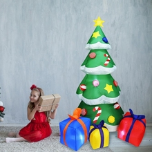 2.1M High Automatic Inflatable Christmas Tree Christmas Garden Decoration Spree Home Decor Party Supplies US Plug