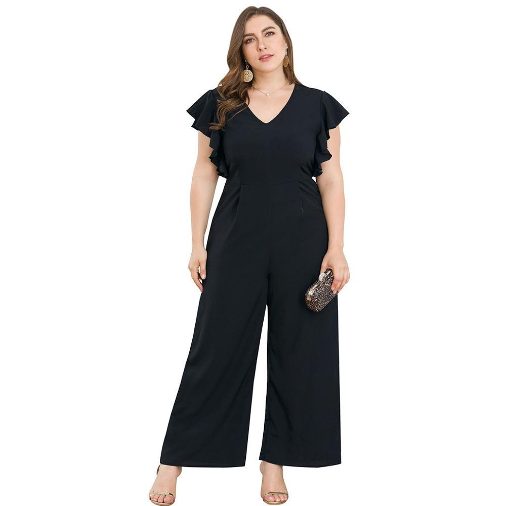 WHZHM Ruffles V Neck Black Jumpsuits Women Loose Pants Tunic Party Elegant Summer High Waist Plus Size 3XL 4XL Jumpsuits Ladies