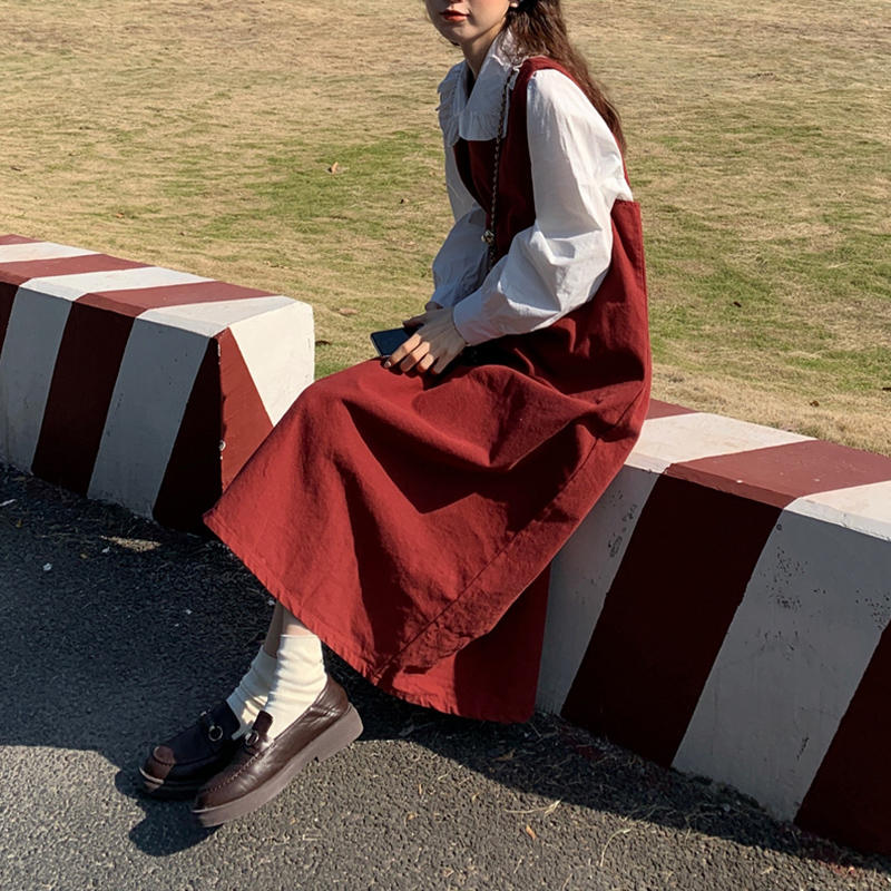 Юбка на подтяжках женский зимний комплект из двух предметов осенне-зимнее платье А-силуэта Ретро французская длинная юбка нежная стильная ...