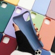 Zachte Leuke Matte Solid Candy Kleur Telefoon Case Voor Iphone 11 12Pro SE2 X Xr Xs Max 8 7 6 6S Plus Eenvoudige Siliconen Cover