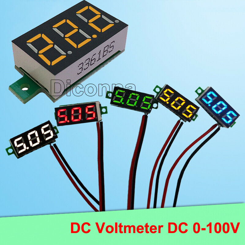 0.36 DC 0-100V 3 Wire LED Display Digital Voltage Voltmeter Panel Colors Yellow