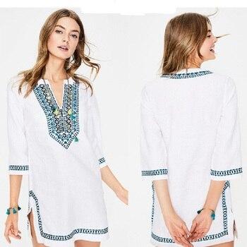 цена Women's Embroidery Long Sleeve Pompom Beach Cover up Tunic Dress онлайн в 2017 году