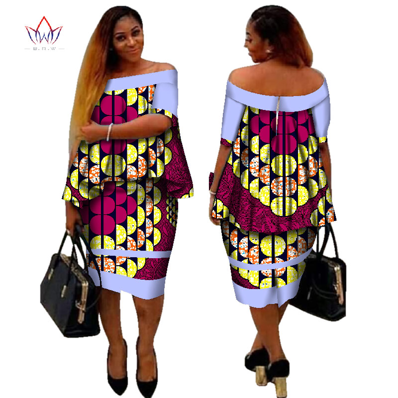 Dashiki africain imprimer femmes vêtements deux pièces hauts et corps robe de maïs nouveau Design 2017 mode grande taille BintaRealWax WY2400