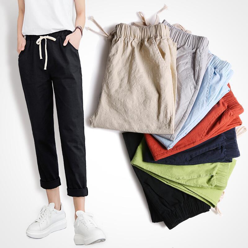 Women Cotton Spring Summer Thin Casual Pants Harlan-legged Harajuku Big Size Long Trousers Elastic Waist Ankle Length Haren Pant