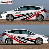 1Set Car stickers For Ford Focus Racing Sport Styling Car Both Side Door Stripes Decor Stickers Auto Body Vinyl Decals