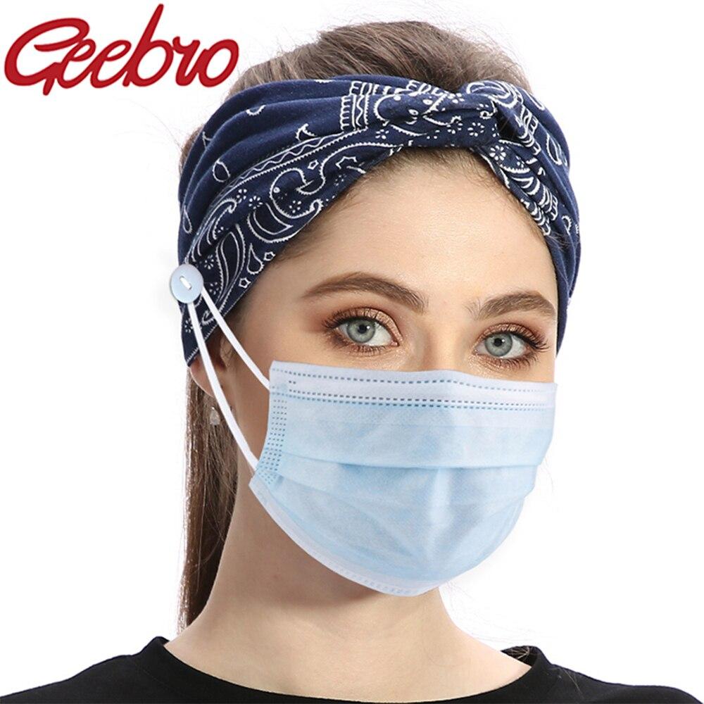 Женская повязка на голову Geebro, летняя богемная повязка на голову с цветочным принтом на пуговицах для защиты ушей, платок для волос для йоги