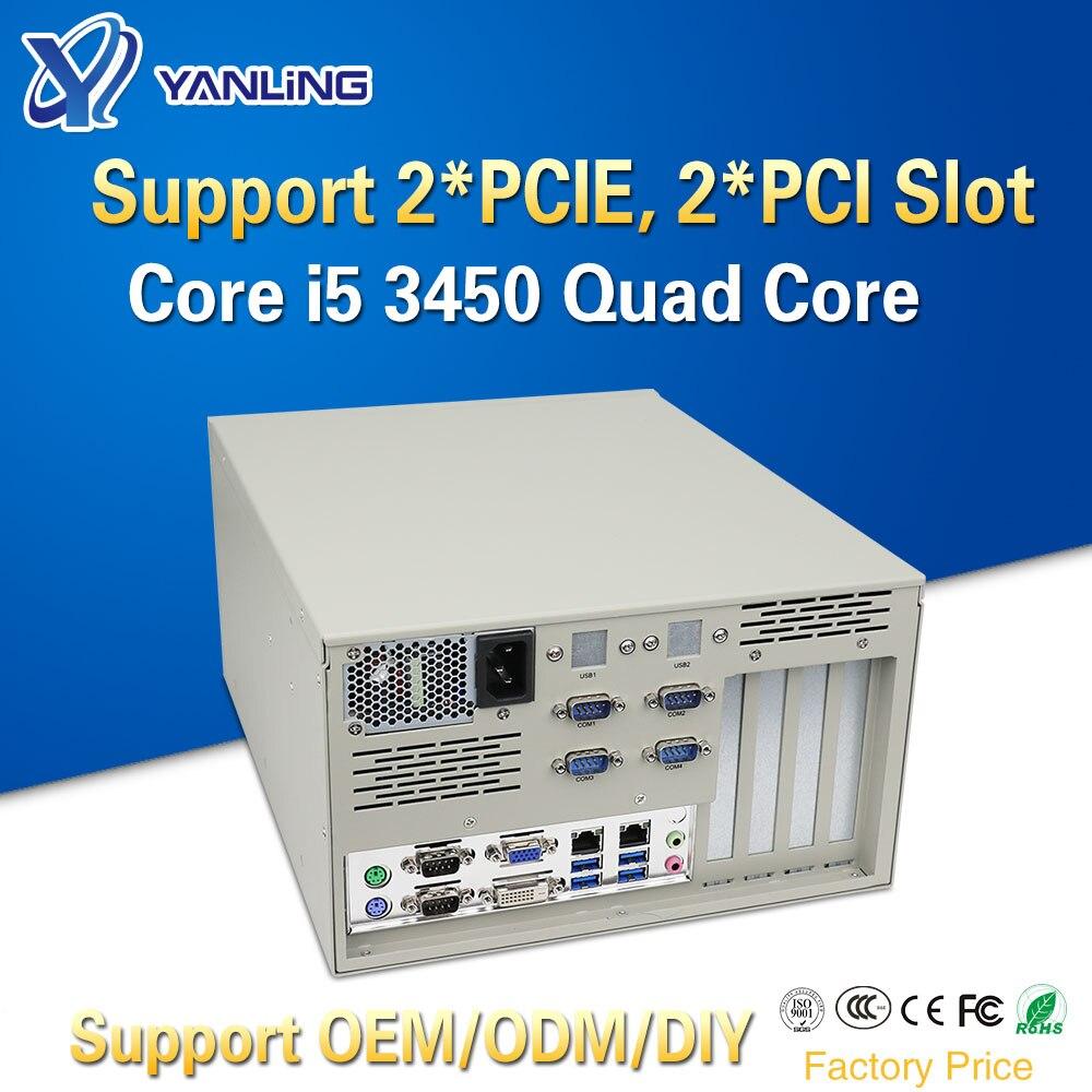 Yanling 19 Inch Rack Mount Server Intel I5 3450 Quad Core Dual Lan 6 COM 4U Industrial Computer With 2*PCIE 2*PCI For Windows Xp