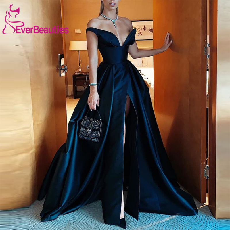 Off The Shoulder Satin Prom Dresses Long 2020 Side Slit V-Neck Vestidos De Gala Abiye Gece Elbisesi Black Formal Dresses