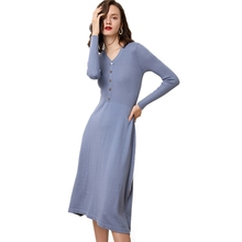 2019 Autumn Winter New Warm Cashmere Knitted Dress Women Pullover Fit and Flare V Neck Long Button Wool Sweater Dress Knitwear недорого