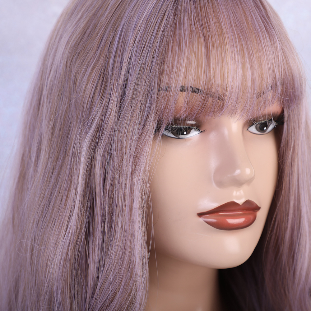 Image 4 - ALAN EATON Long Wavy Wigs with bangs Lolita Cosplay Party Synthetic Wigs lilac wig Purple Brown women Afro Natural Hair WigsSynthetic None-Lace  Wigs   -