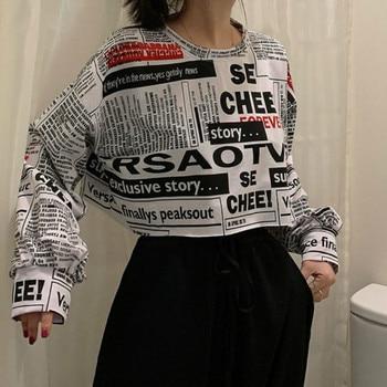 HOUZHOU Hip Hop Sweatshirt Women Cotton Autumn Fashion Hoodies Korean Style Loose Long Sleeve Streetwear Sexy Pullover