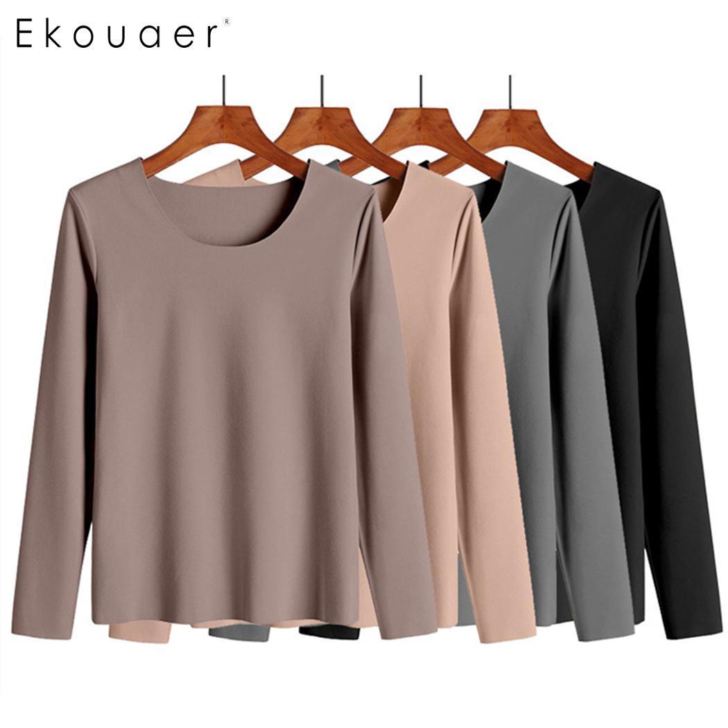 Ekouaer Women Thermal Underwear Set O-Neck Long Sleeve Top Long Pants Sleepwear Solid Slim Warm Winter Pajamas Set Underwear