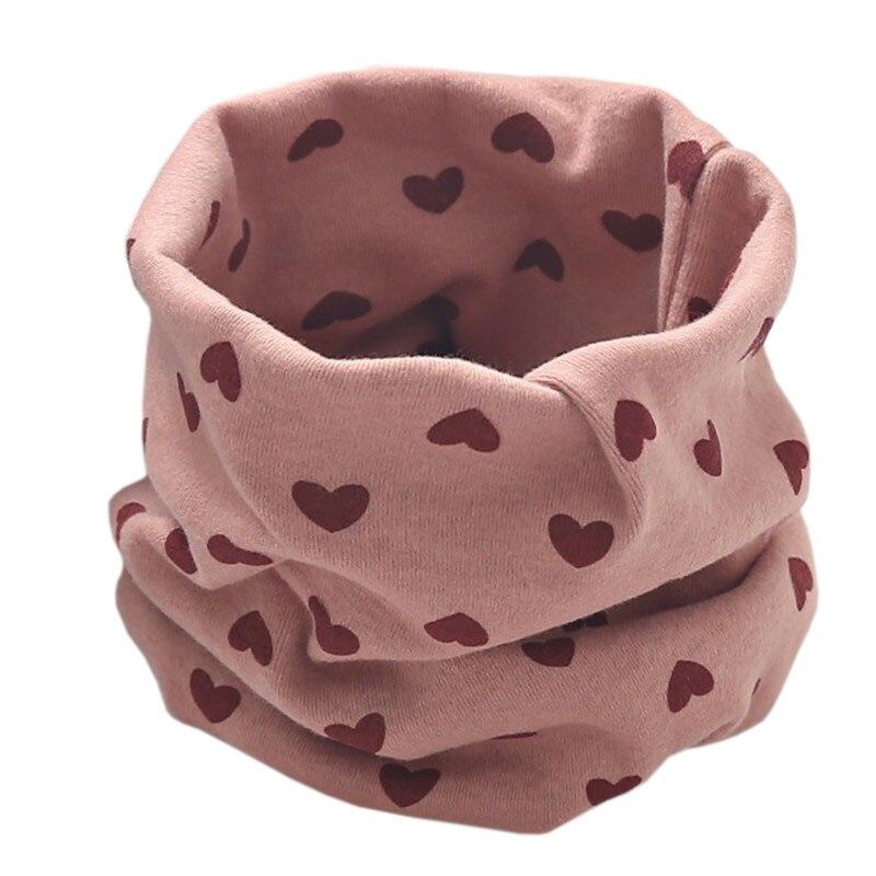 Новинка; Модный хлопковый шарф для маленьких девочек; осенне-зимний шарф для маленьких мальчиков; Детский шарф с круглым вырезом; Детские шарфы; волшебный шейный платок - Цвет: dark pink heart