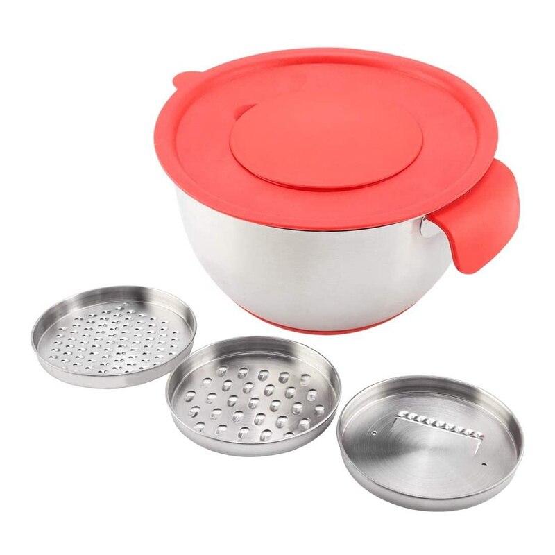 Tigelas de salada de aço inoxidável com ralador conjunto de base de silicone antiderrapante/punho diy bolo cozimento ovo batedor tigela cozinha ferramentas