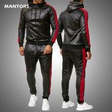 Conjunto casual 2 peças conjunto de agasalho masculino com capuz de couro do plutônio jaqueta + calças 2020 esportes da motocicleta terno dos homens roupas