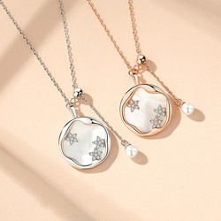 925 Sterling Silver Flower Shell Round Necklace Simple Temperament Female Clavicle Chain Jewelry Pendant