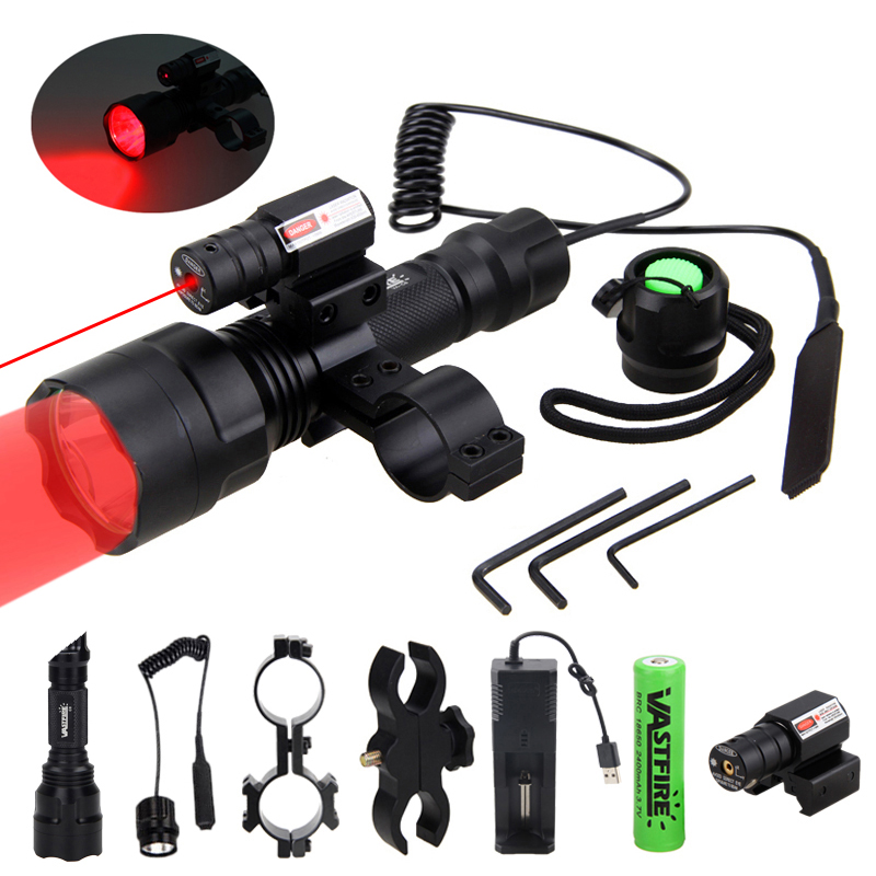 C8 XM-L Q5 Tactical Hunting Flashlight Rifle Airsoft Armas Light+Laser Dot Sight+Switch+2*20mm Rail Barrel Mount+18650+Charger