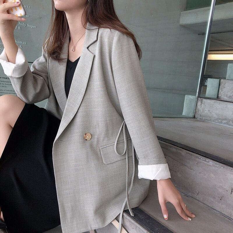 Mishow 2019 femmes à manches longues couleur unie col rabattu manteau coréen double boutonnage Cardigan veste costume Blazer haut MX19C6161