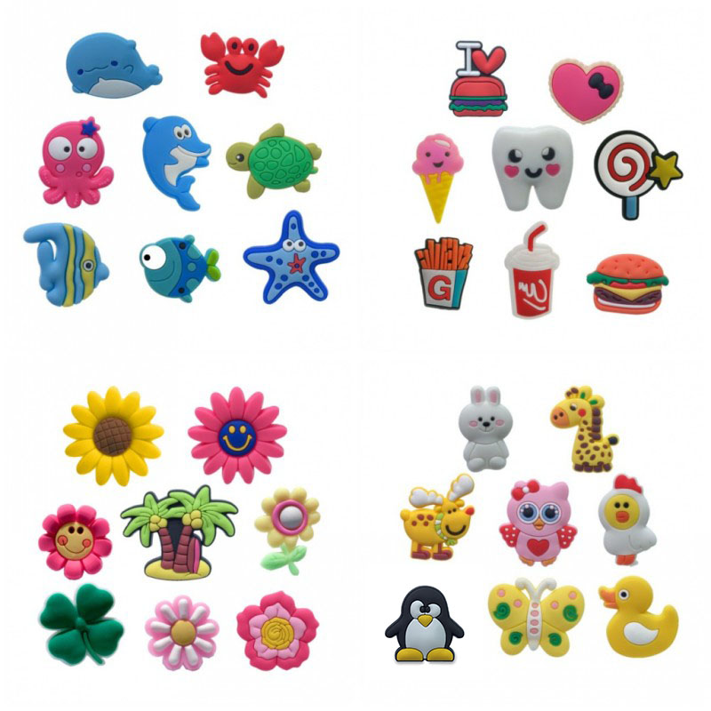 7-12PCS Sweet Animals Flower PVC Shoe Charms Christmas Shoe Buckles Shoes Accessories Ornaments Fit For Croc JIBZ Kids Gift