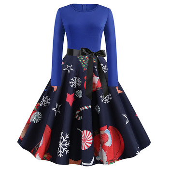 Plus Size S~5XL Print Long Sleeve Christmas dress Women Autumn Winter elegant casual vintage pin up party dresses Robe vestidos 4