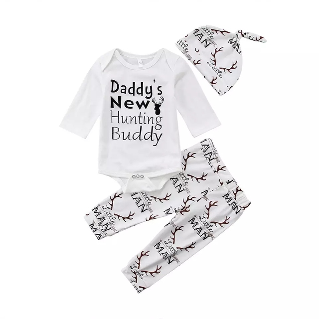 """Baby Boy Clothes Infant /""""Newest Addition to the Family/"""" Bodysuit Pants Hat Set"""