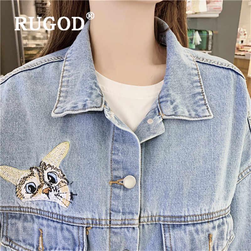 2020 neue herbst denim jacke frauen drehen unten kragen licht blau katze stickerei muster jean mantel mode weibliche beiläufige nette