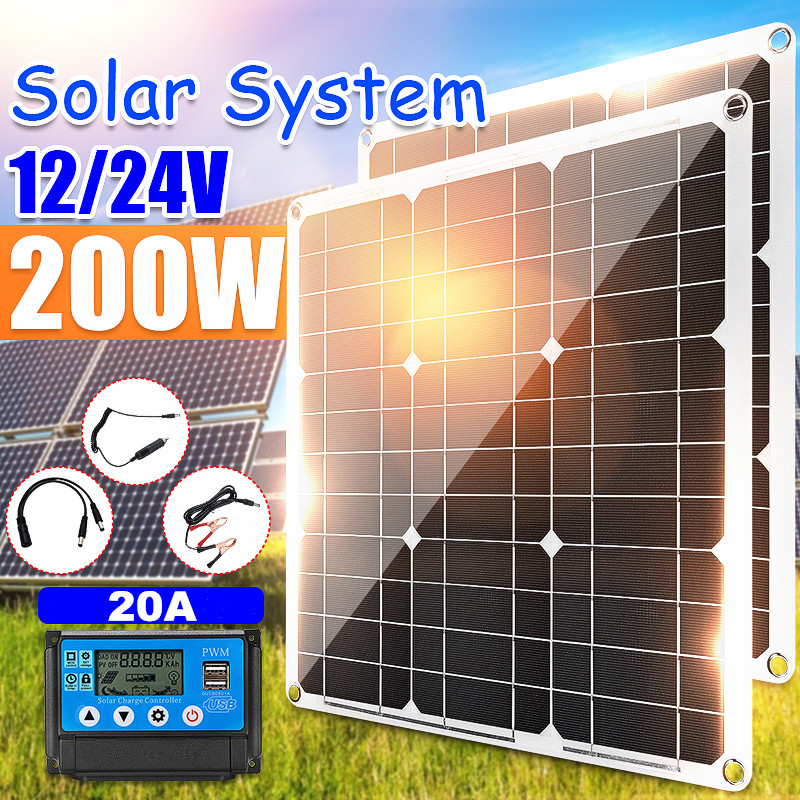 200W 100W Monocrystaline Solar Panel 12V 5V Dual USB Charger Solar Cell With 20A PWM Solar Controller for Outdoor Battery Charge