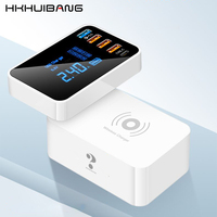 QI Wireless Charger Quick Charge 4.0 3.0 USB Type C Charger Station HUB Led Display Fast Phone Charger USB Adapter Desktop Strip