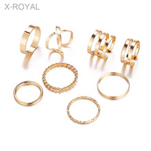 X-ROYAL 8Pcs/set European Creative Vintage Style Classic Multi Layered Open Finger Rings Women Fashion Party Female Gift