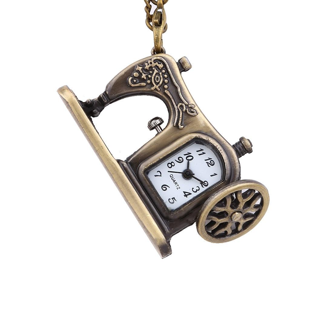 Creative Design Pocket Watch Small Sewing Machine Shape Quartz Movement Relogio De Bolso Relógio Vintage Creative Design