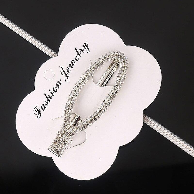 Купить с кэшбэком Fashion Pearl Rhinestone Hair Clip for Wedding Party Women Elegant Metal Hollow Diamond Hairpin Girls Concise Drop-Shape Square