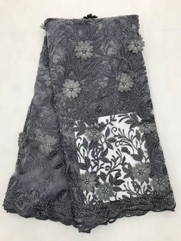 Gray Lace Fabric Nigerian 3d Flowers Tulle Lace Fabric High Quality African Beades With Stones Material Tulle Fabric JL28631