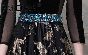 Image 5 - Brilliant Black Beaded Evening Dress,3/4 Sleeves Illusion V Neck Figured Satin Evening Gowns,Open Back Velvet Formal Party Dress